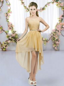 Gold Empire Chiffon Sweetheart Sleeveless Beading High Low Lace Up Court Dresses for Sweet 16