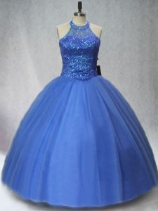 Blue Ball Gowns Tulle Halter Top Sleeveless Beading Floor Length Lace Up Quince Ball Gowns