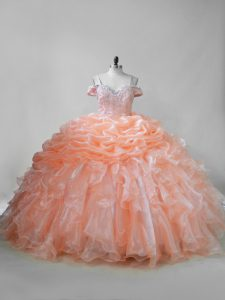 Orange Lace Up Quinceanera Gowns Beading and Ruffles and Pick Ups Sleeveless Brush Train