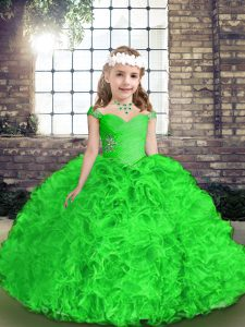 Floor Length Green Pageant Dress Toddler Straps Sleeveless Lace Up