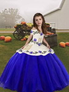Custom Fit Floor Length Royal Blue Girls Pageant Dresses Straps Sleeveless Lace Up