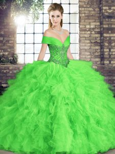 Popular Sleeveless Beading and Ruffles Floor Length Quince Ball Gowns