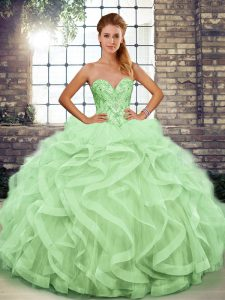 Sweetheart Sleeveless Quinceanera Gown Floor Length Beading and Ruffles Apple Green Tulle