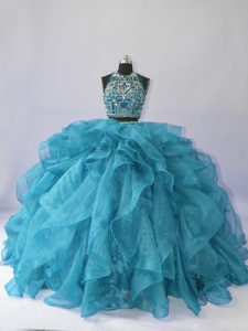Super Teal Sleeveless Brush Train Beading and Ruffles Floor Length Quinceanera Gowns