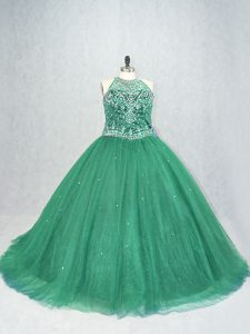 Simple Brush Train Ball Gowns Ball Gown Prom Dress Green Scoop Tulle Sleeveless Lace Up