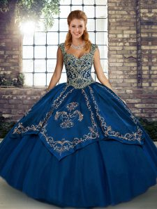 Dynamic Blue Tulle Lace Up Straps Sleeveless Floor Length Quinceanera Dress Beading and Embroidery