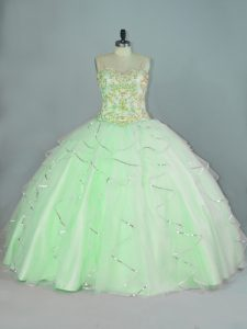 Stunning Sleeveless Organza Floor Length Lace Up Quinceanera Gown in Apple Green with Beading and Ruffles