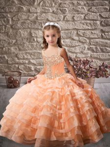 Orange Ball Gowns Organza Straps Sleeveless Beading and Ruffled Layers Lace Up Kids Formal Wear Brush Train
