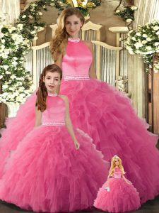 Stylish Floor Length Ball Gowns Sleeveless Hot Pink Sweet 16 Dresses Backless