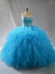Custom Made Baby Blue Sleeveless Tulle Lace Up 15 Quinceanera Dress for Sweet 16 and Quinceanera
