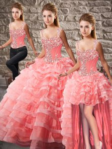 Fine Watermelon Red Sleeveless Beading and Ruffled Layers Lace Up 15 Quinceanera Dress