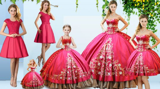 Charming Hot Pink Sleeveless Embroidery Floor Length Quinceanera Dress