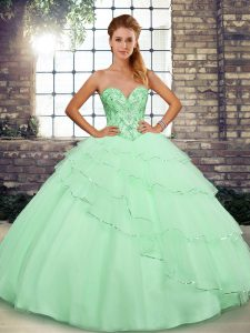 Captivating Apple Green Vestidos de Quinceanera Sweetheart Sleeveless Brush Train Lace Up