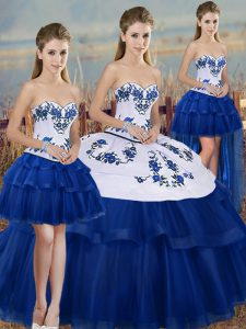 Noble Royal Blue Sleeveless Embroidery and Bowknot Floor Length Sweet 16 Dresses
