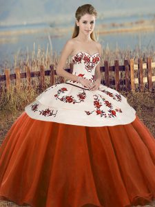 Rust Red Tulle Lace Up Sweetheart Sleeveless Floor Length Quinceanera Gown Embroidery and Bowknot