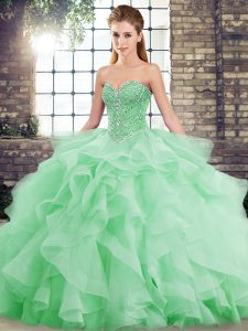 Green Sleeveless Beading and Ruffles Lace Up Quinceanera Gowns