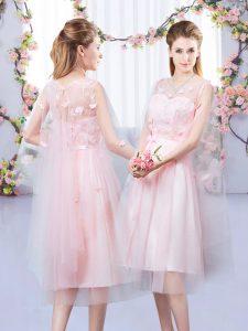 Admirable Sleeveless Tea Length Appliques and Belt Lace Up Quinceanera Dama Dress with Baby Pink