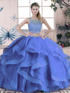 Simple Scoop Sleeveless Tulle Quinceanera Dress Beading and Ruffles Lace Up