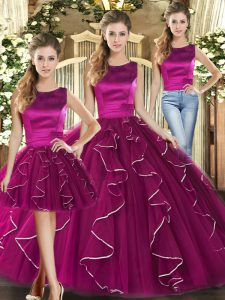Tulle Sleeveless Floor Length Vestidos de Quinceanera and Ruffles