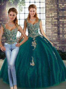 Dynamic Peacock Green Lace Up Straps Beading and Appliques Quinceanera Gowns Tulle Sleeveless