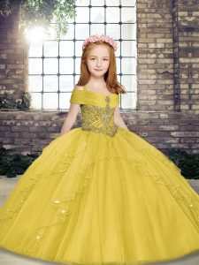 Yellow Little Girls Pageant Dress Wholesale Party and Sweet 16 and Wedding Party with Beading Straps Sleeveless Lace Up