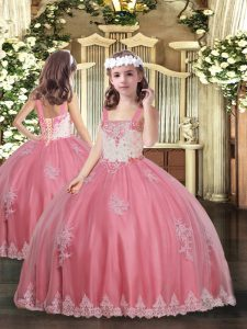 Watermelon Red Lace Up Straps Appliques Little Girl Pageant Dress Tulle Sleeveless