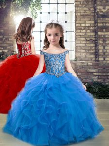 Blue Sleeveless Tulle Lace Up Pageant Gowns For Girls for Party and Wedding Party