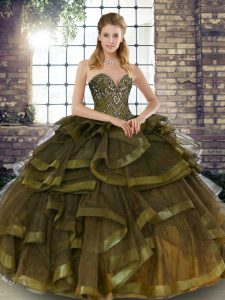 Sleeveless Floor Length Beading and Ruffles Lace Up 15th Birthday Dress with Olive Green