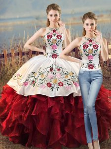 Noble Floor Length Lace Up Quinceanera Gowns White And Red for Sweet 16 and Quinceanera with Embroidery and Ruffles