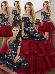 Wine Red Quinceanera Dress Tulle Brush Train Sleeveless Embroidery and Ruffled Layers
