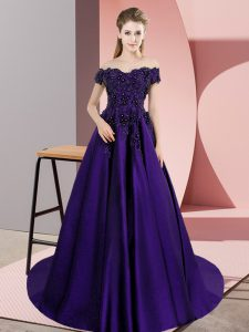 Flare Purple Satin Zipper Quinceanera Gowns Sleeveless Court Train Lace