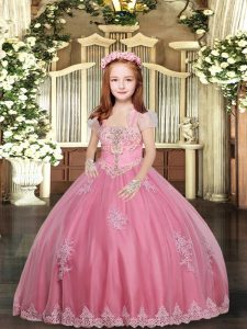 Straps Sleeveless Lace Up Pageant Dresses Pink Tulle