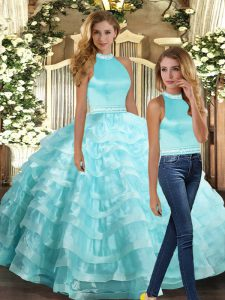Floor Length Ball Gowns Sleeveless Aqua Blue Quinceanera Gowns Backless