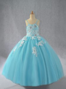 Latest Aqua Blue Lace Up Kids Pageant Dress Beading and Appliques Sleeveless Floor Length