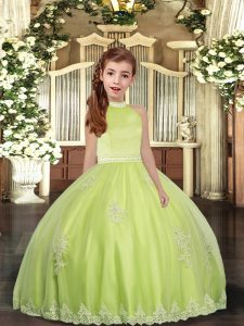 Beading and Appliques Little Girls Pageant Dress Yellow Green Backless Sleeveless Floor Length