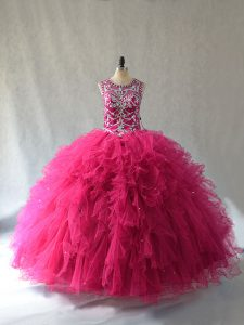 Beautiful Hot Pink Ball Gowns Tulle Scoop Sleeveless Beading Lace Up Vestidos de Quinceanera