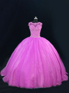 Edgy Tulle Sleeveless Floor Length Quinceanera Dresses and Beading and Lace