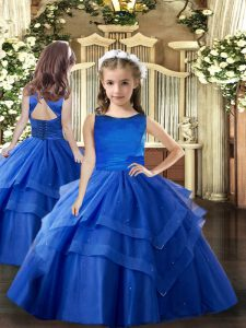 Sweet Floor Length Royal Blue Pageant Dress Wholesale Scoop Sleeveless Lace Up
