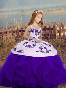 Purple Pageant Dress Wholesale Party and Sweet 16 and Wedding Party with Embroidery and Ruffles Straps Sleeveless Lace Up