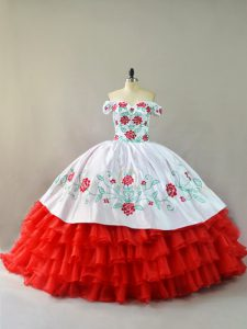 White And Red Sweet 16 Dresses Sweet 16 and Quinceanera with Embroidery and Ruffled Layers Off The Shoulder Sleeveless Court Train Lace Up