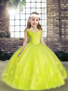 Floor Length Yellow Green Girls Pageant Dresses Tulle Sleeveless Beading and Hand Made Flower