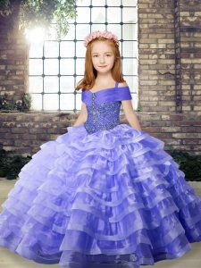 Inexpensive Lavender Lace Up Kids Pageant Dress Beading and Ruffled Layers Sleeveless Brush Train
