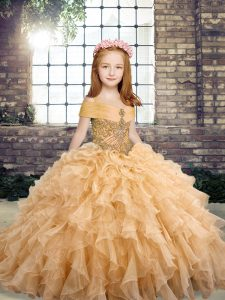 New Style Beading and Ruffles Kids Formal Wear Peach Lace Up Sleeveless Floor Length
