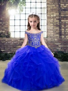 Floor Length Royal Blue Little Girl Pageant Dress Off The Shoulder Sleeveless Lace Up