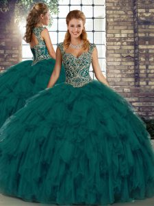Customized Straps Sleeveless Organza Quinceanera Gown Beading and Ruffles Lace Up
