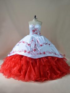 White And Red Ball Gowns Satin and Organza Sweetheart Sleeveless Embroidery Lace Up Sweet 16 Quinceanera Dress Court Train