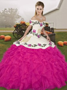 Off The Shoulder Sleeveless 15th Birthday Dress Floor Length Embroidery and Ruffles Fuchsia Organza