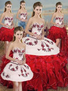 Hot Selling White And Red Sleeveless Embroidery and Ruffles and Bowknot Floor Length 15 Quinceanera Dress