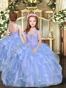 Organza Sleeveless Floor Length Girls Pageant Dresses and Beading