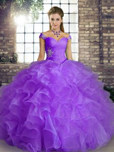 Best Selling Off The Shoulder Sleeveless Lace Up Quinceanera Gowns Lavender Organza